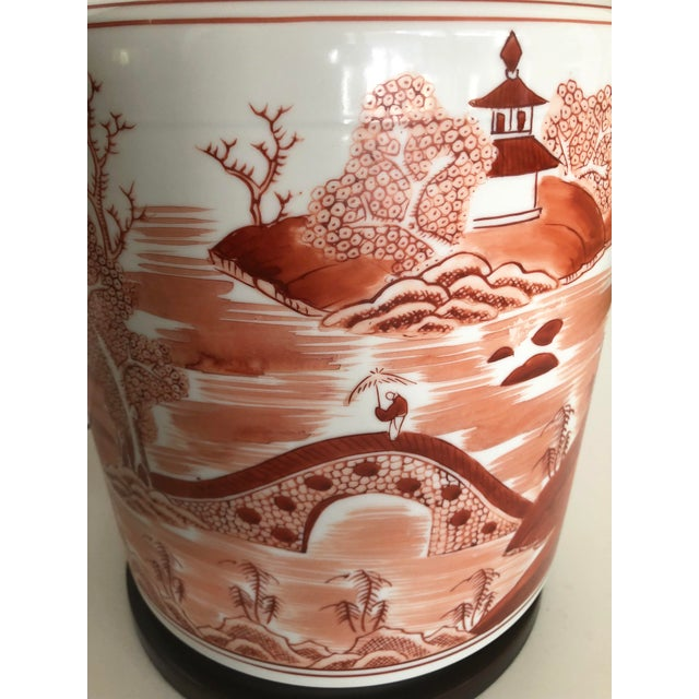 Red Norman Perry Chinoiserie Ginger Jar Style Lamp For Sale - Image 8 of 13