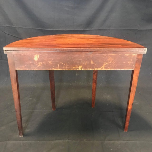 19th Century Hepplewhite Inlaid Demilune Game Table For Sale - Image 10 of 13