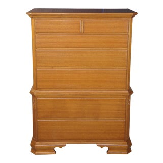 """Early American Style Solid Mahogany Chest on Chest Highboy Dresser 40"""" For Sale"""
