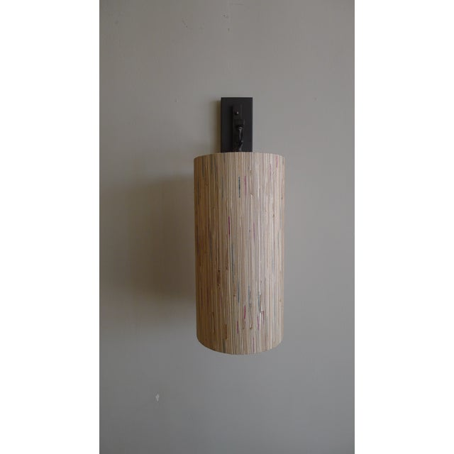 Modern Sconce with Custom Grasscloth Shade - Image 4 of 9