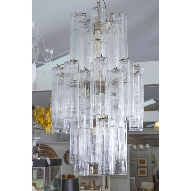 Modern Murano Glass Cylinder Three-Tier Chandelier For Sale - Image 4 of 5