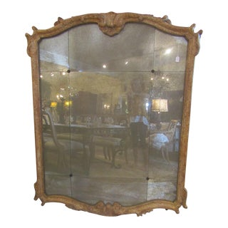 Large Carved Wood Framed Mirror, Sectioned With Smokey Glass