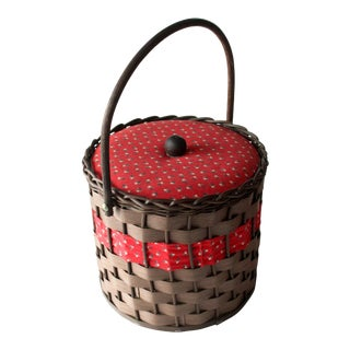 1970s Mid-Century Modern German Sewing Braided Basket For Sale
