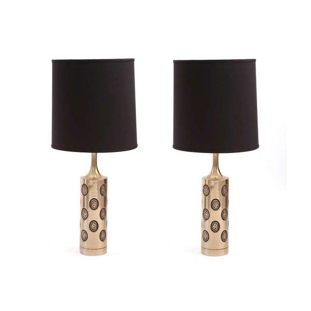 Pair of Embossed Brass Table Lamps by Laurel For Sale - Image 4 of 5
