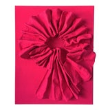 """Image of """"Fluorescent Bengali Red Folds"""" Mixed Media Wall Sculpture"""