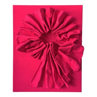 """Fluorescent Bengali Red Folds"" Mixed Media Wall Sculpture For Sale"