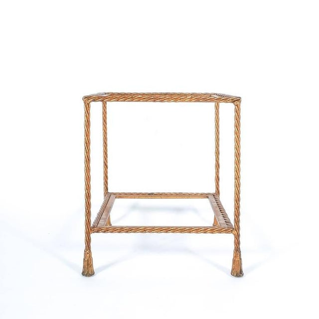 Pair of Golden Iron Rope Side Tables, Attributed Maison Jansen, France, 1950 For Sale - Image 6 of 7