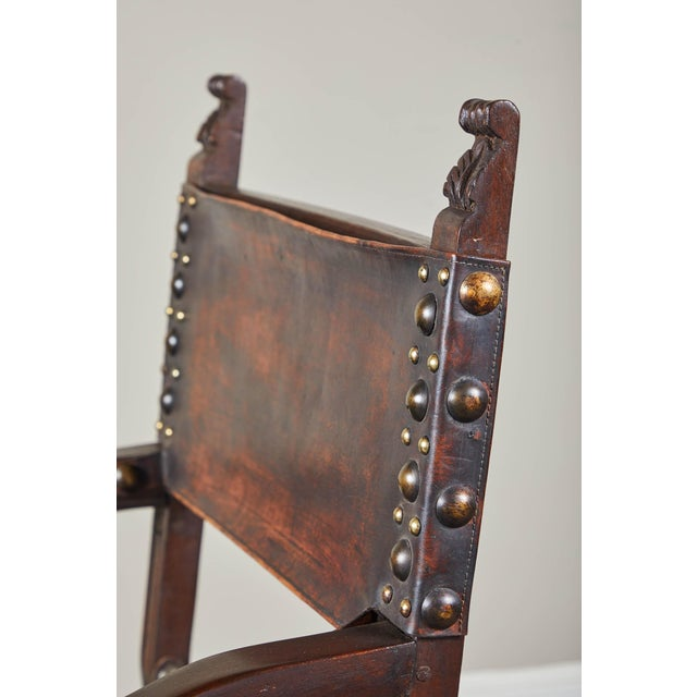 Aesthetic Movement 20th C. South American Armchairs W/ Leather Seat & Back - a Pair For Sale - Image 3 of 12