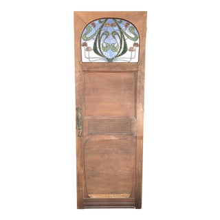 1910s Vintage Art Nouveau Arts and Crafts Style Stained Glass Door For Sale