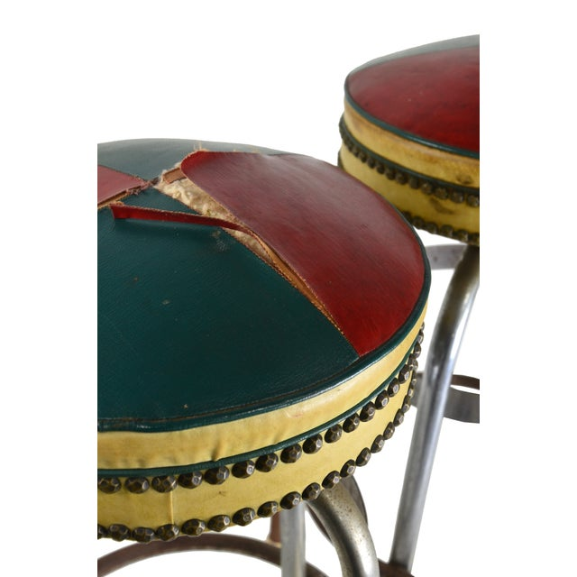 Pub Stools with Leather Seats - A Pair - Image 3 of 4