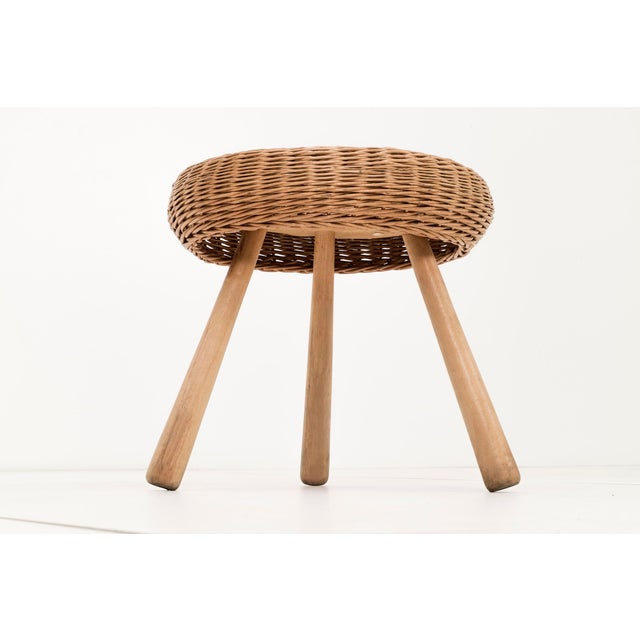 Mid-Century Modern Tony Paul Rattan Stool For Sale - Image 3 of 6