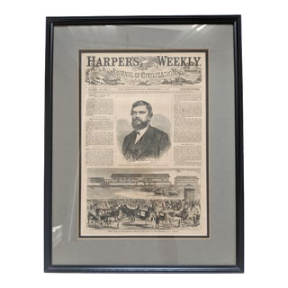1869 19th Century Framed Harper's Weekly New York Newspaper For Sale