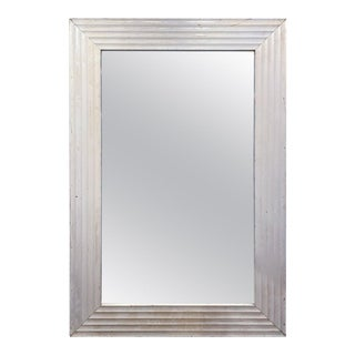 8-Foot Vintage French Floor Mirror With Textured Wood Frame in Painted Finish For Sale
