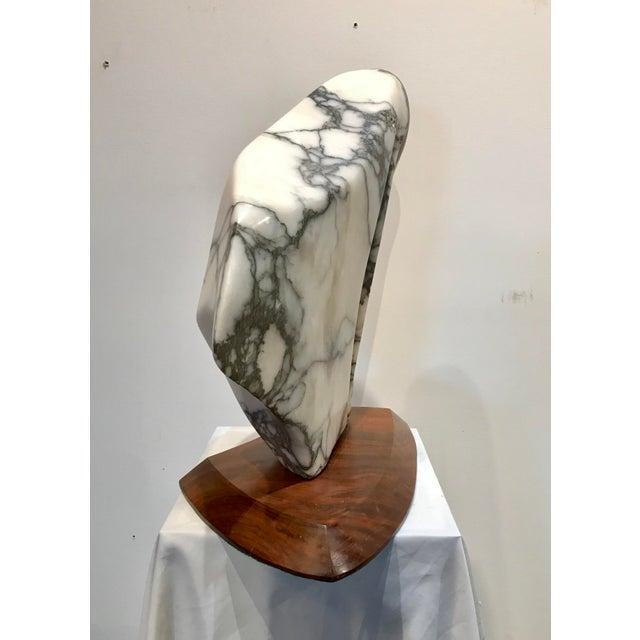 Modernist Marble Sculpture on Walnut Plinth Base For Sale - Image 6 of 12