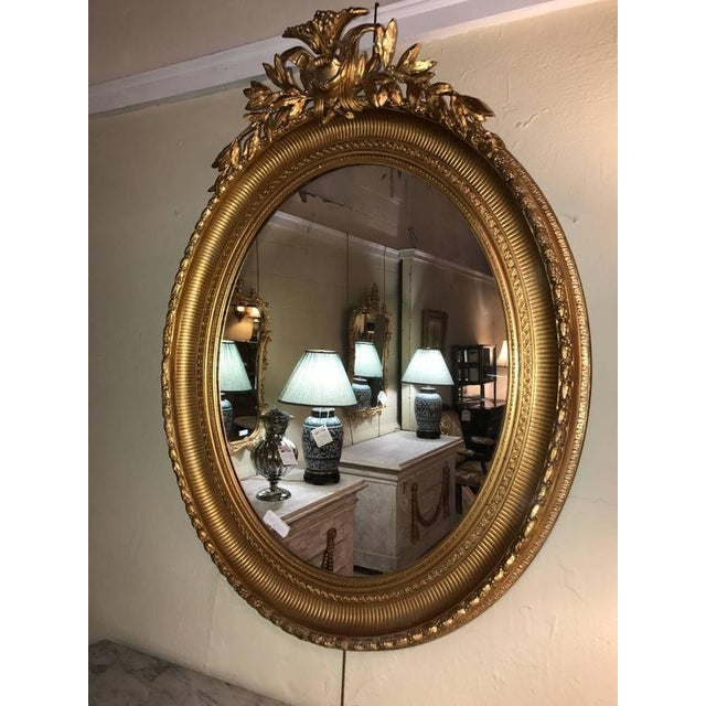 19th Century Oval Gilt Wood Mirrors - a Pair For Sale - Image 10 of 10