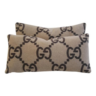"Custom Designer Gucci Cashmere & Velvet Feather/Down Pillows 24""x 12"" - Pair For Sale"