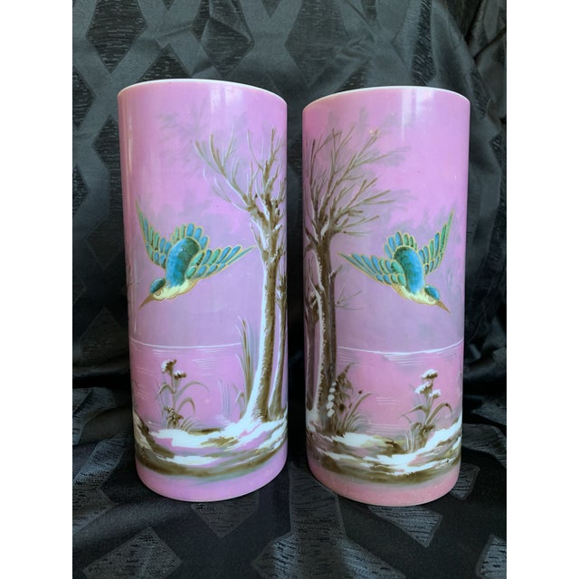 For your consideration is this pair of 19th century antique beautiful Baccarat French glass vases circa 1850. These solid,...