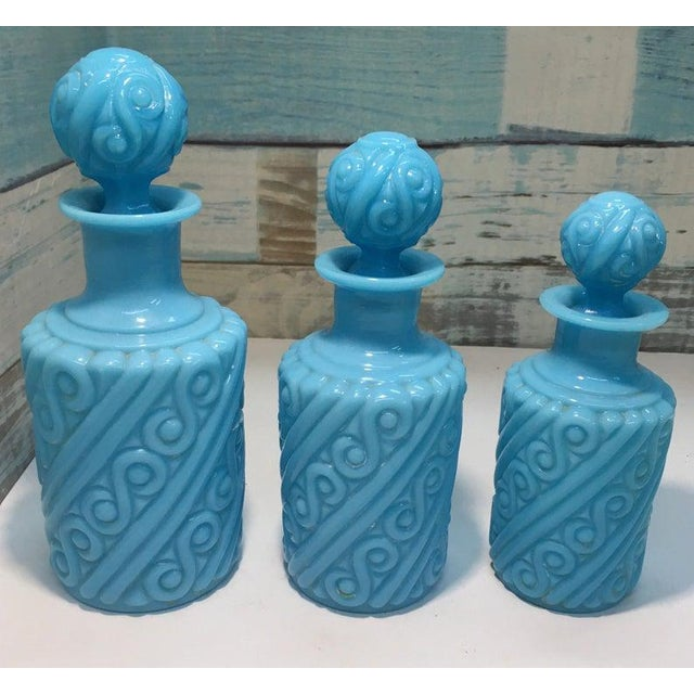 Portieux Vallerysthal Portieux Vallerysthal Blue Opaline Swirl Vanity Perfume Bottle Set - 3 Pieces For Sale - Image 4 of 4