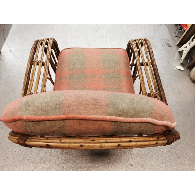 Art Deco Reeded Rattan Lounge Chair and Ottoman For Sale In New York - Image 6 of 13