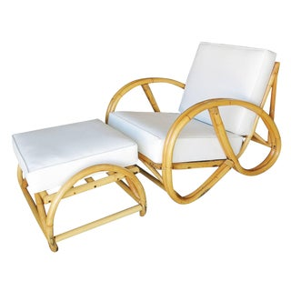Restored 3/4 Pretzel Rattan Lounge Chair and Ottoman by Seven Seas Rattan For Sale