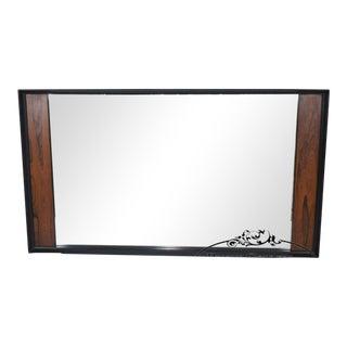 Mid Century Modern Black & Rosewood Large Rectangular Wall Mirror For Sale
