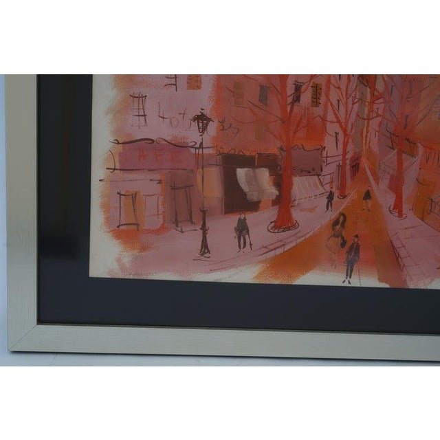 """Mid-Century Modern Levier """"Street Scene"""" Gouache and Watercolor Painting Signed in the Painting For Sale In West Palm - Image 6 of 11"""
