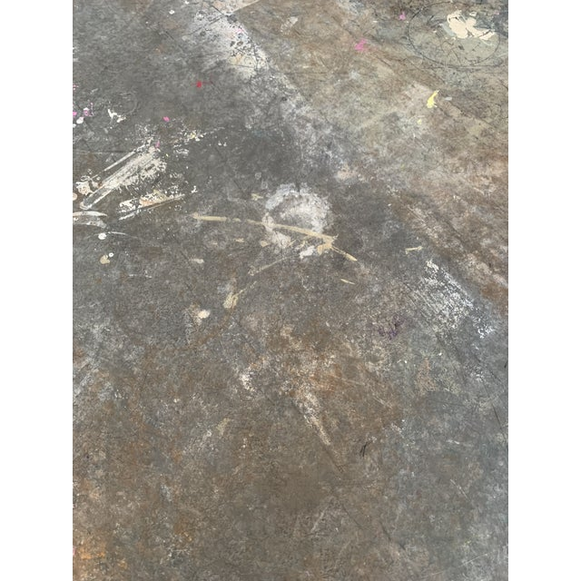 """Zinc & Wrought Iron Dining Table 60"""" For Sale - Image 4 of 6"""