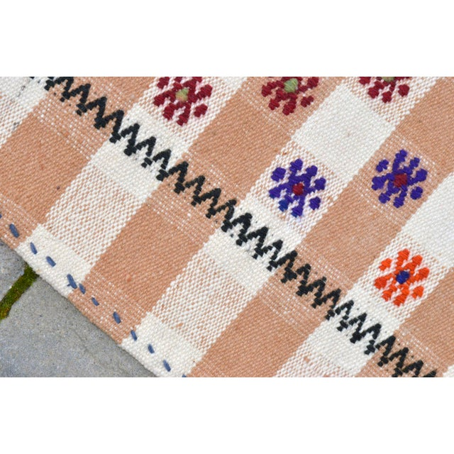 Textile Vintage Hand Woven Kilim Rug. Turkish Cotton Kilim Sofreh Deco Rug - 4′11″ X 5′1″ For Sale - Image 7 of 11