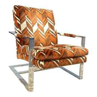 1970's Milo Baughman Chrome Cube Lounge Chair For Sale