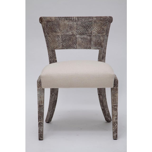Early 21st Century Fishskin Covered Chairs - a Pair For Sale - Image 5 of 10