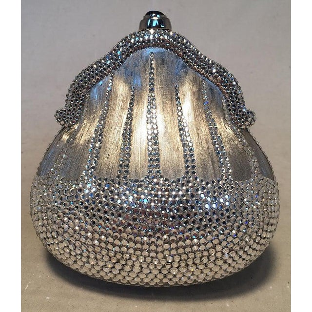 Silver Judith Leiber Silver Metal and Swarovski Crystal Coin Pouch Minaudiere For Sale - Image 8 of 9
