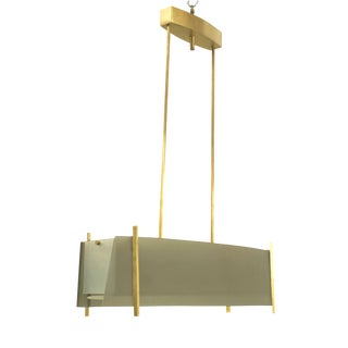 Italian 1940s Modernist Design Horizontal Form Chandelier For Sale