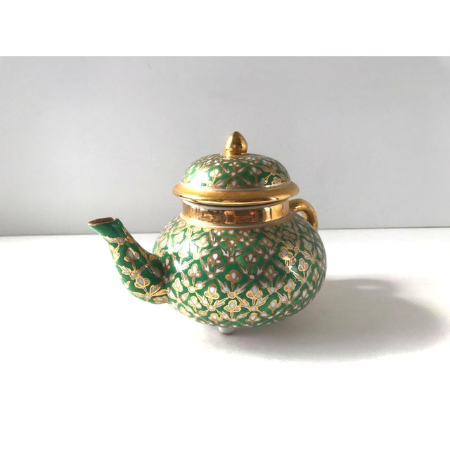 English Antique Old Paris Porcelain Green and Gold Teapot For Sale - Image 3 of 10
