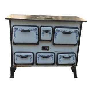 1850s Blue & White Antique Stove & Oven