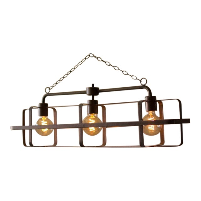 Modern Industrial Metal Three Light Pendant by Kalalou For Sale