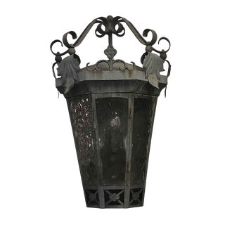 Early 20th Century Antique Exterior Iron 23 In. Wall Sconce With Foliage Detail For Sale