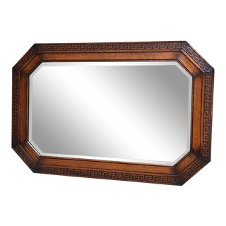 Antique English Carved Tiger Oak Octagon Frame Beveled Wall Mirror Greek Key For Sale