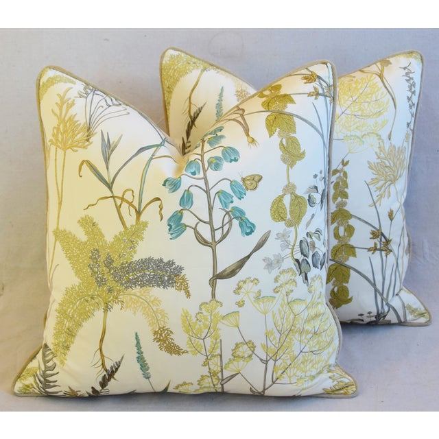"Botanical Wildflower Floral Feather/Down Pillows 23"" Square - Pair For Sale - Image 9 of 13"