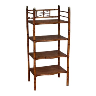 Antique English Victorian Rattan Bamboo Oak 4 Tier Shelf / Storage Rack
