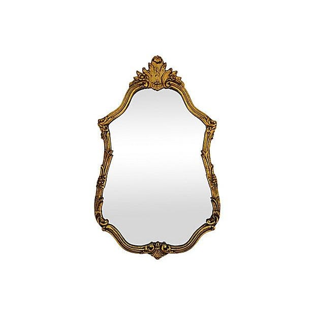 Cottage Large Ornate 1940s French Gold Gilt Wall Mirror For Sale - Image 3 of 10