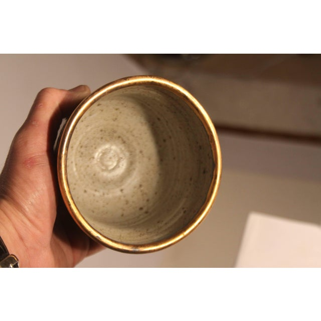 Gold 1960s Mid-Century Modern Master Potter Byron Temple Stoneware Chalice For Sale - Image 8 of 10