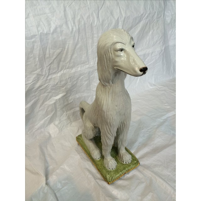 Italian Ceramic Afghan Hound Statue For Sale - Image 10 of 11
