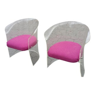 1970's Mid-Century Flexuous Lucite Chairs - A Pair
