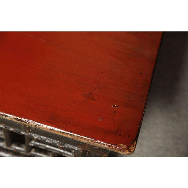 Small 19th Century Chinese Bamboo with Red Lacquered Top Coffee Table For Sale - Image 9 of 11