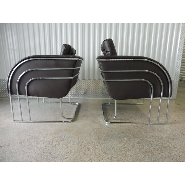 1970's Mid-Century Modern Milo Baughman Chrome and Leather Club Chairs - a Pair For Sale In Miami - Image 6 of 11