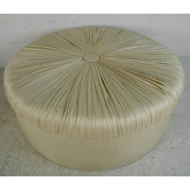 Fabric Mid-Century Modern Tufted Silk Ottomans- a Pair For Sale - Image 7 of 9