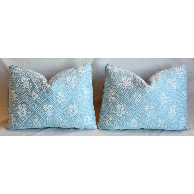 """Blue & White Italian Mariano Fortuny Feather/Down Pillows 22"""" X 16"""" - Pair For Sale In Los Angeles - Image 6 of 13"""