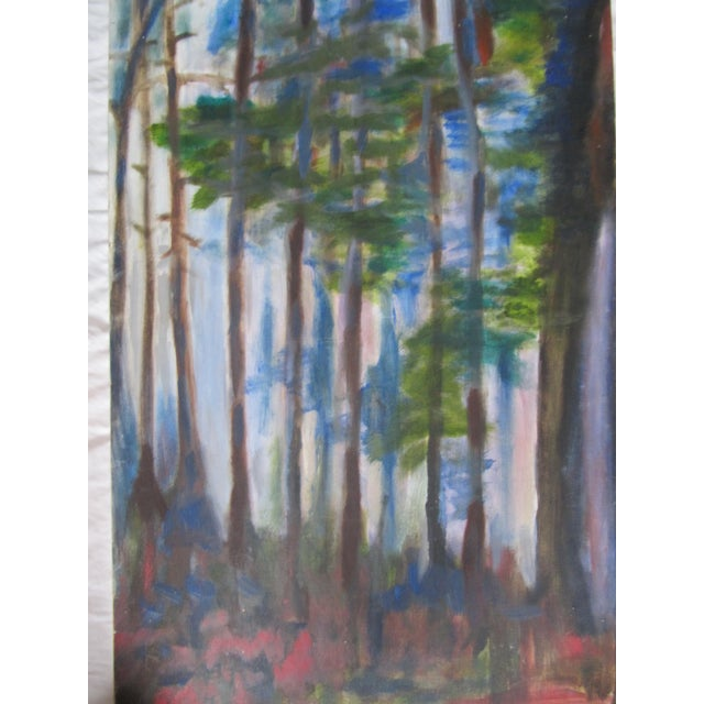 Abstract Impressionist Acrylic Painting of Redwoods For Sale - Image 3 of 7