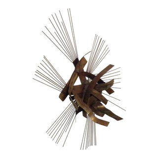Vintage Mid-Century Curtis Jere Style Metal Wall Sculpture For Sale
