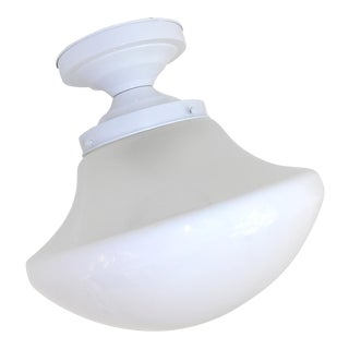 Vintage Art Deco School House Milk Glass Single Flush Mount Ceiling Light Fixture/Shade For Sale